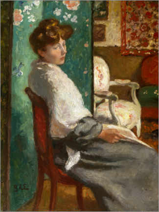 Foam board print  Sitting woman - Georges d'Espagnat