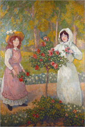 Foam board print  Two girls are picking roses - Georges d'Espagnat