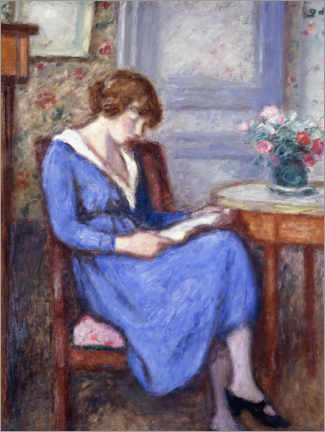 Foam board print  Madame d'Espagnat sitting in a blue dress - Georges d'Espagnat