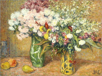 Canvas print  Two vases with flowers - Georges d'Espagnat
