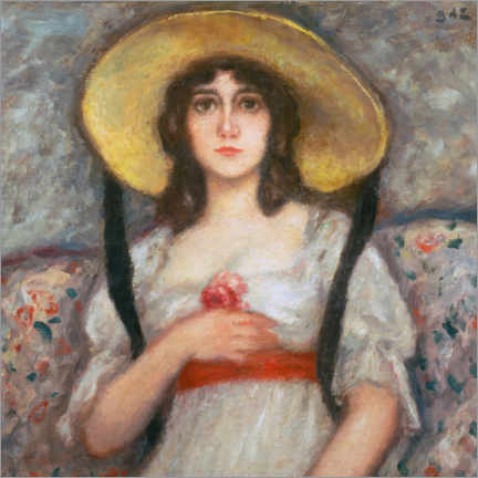 Premium poster  Portrait of a young woman with a large summer hat - Georges d'Espagnat