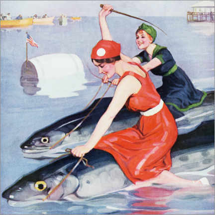 Premium poster Two women on a fish