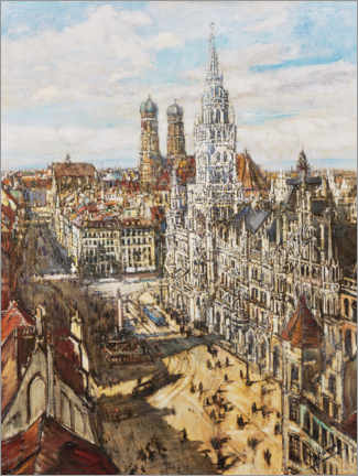 Foam board print  Munich - view of the Marienplatz - Otto Hamel