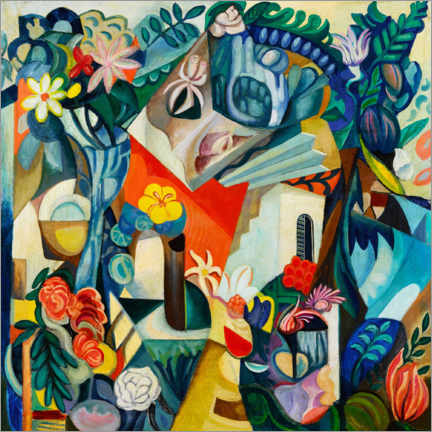 Canvas print  Composition with house and flowers - Hélène Oettingen