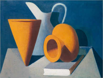 Premium poster Still life with jug, vase and book