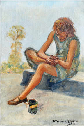 Acrylic print  Girl taking out a thorn - Wlastimil Hofman