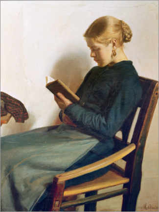 Foam board print  A young girl reading, Maren Sofie Olsen - Michael Peter Ancher