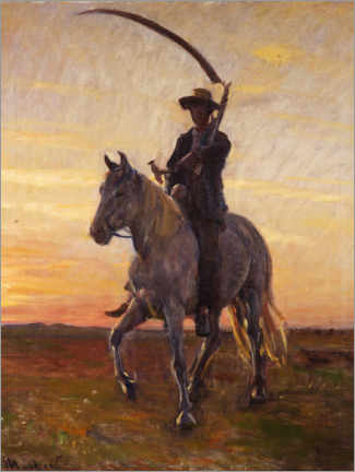 Acrylic print  Young man rides home from the harvest in the field - Michael Peter Ancher