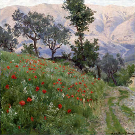 Foam board print  In the poppy meadow - Viggo Pedersen