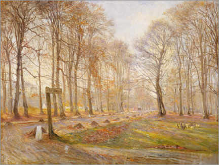 Wood print  Late autumn day in Jægersborg Deer Park - Theodor Esbern Philipsen