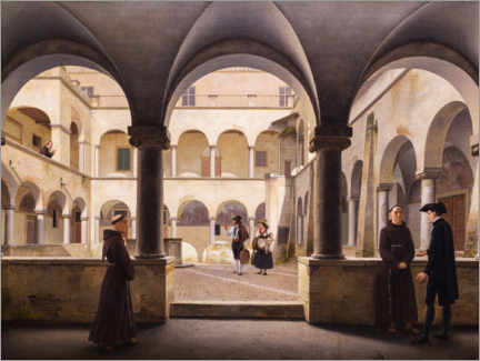 Gallery print  The great cloister of Santa Maria in Aracoeli - Christoffer Wilhelm Eckersberg