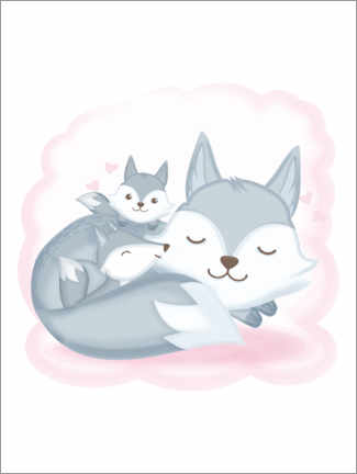 Premium poster Small wolf family