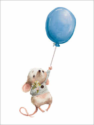 Wood print  Little mouse with balloon - Kidz Collection