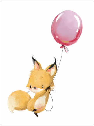 Premium poster Fox with a balloon