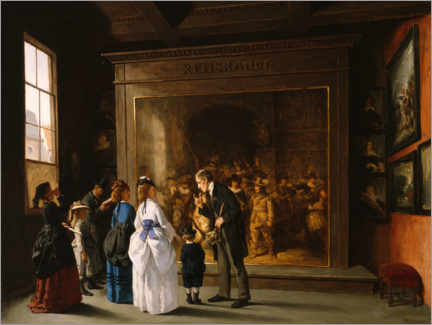 Wood print  Visitors in front of Rembrandt's Night Watch - August Jernberg