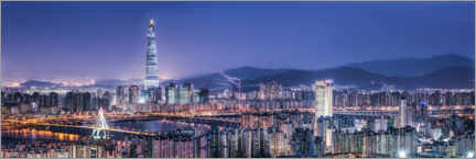Canvas print  Seoul skyline at night with Lotte World Tower - Jan Christopher Becke