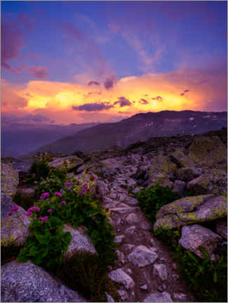 Premium poster  Colorful sunset at Furkapass after a thunderstorm - Peter Wey