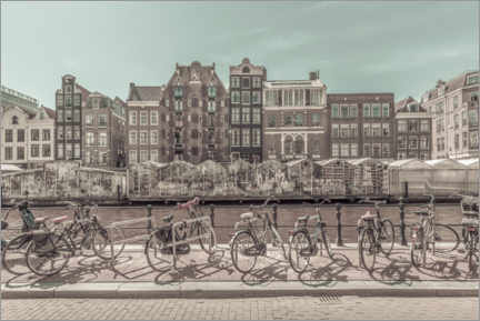 Premium poster Bicycles at the flower market in Amsterdam