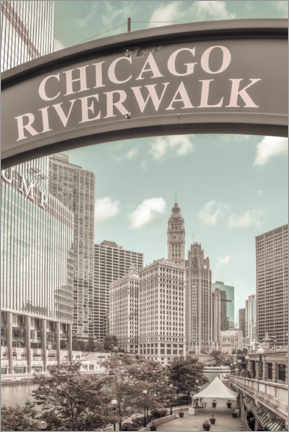 Premium poster On the banks of the Chicago River