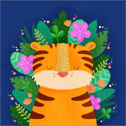 Premium poster Tiger with flowers
