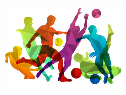Foam board print  Soccer players silhouettes with ball - TAlex