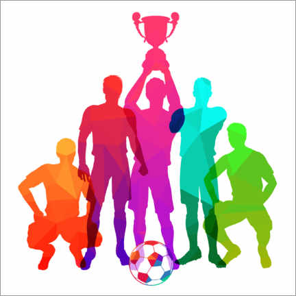 Foam board print  Silhouettes of soccer players with trophy cup - TAlex