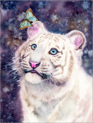Premium poster White Tiger Cub and Butterfly
