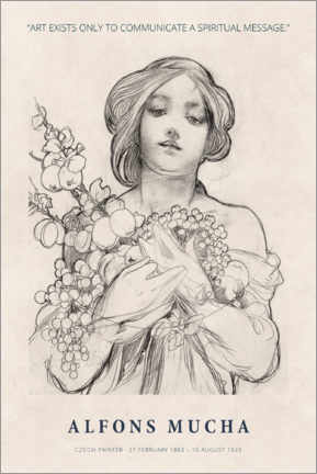 Wood print  Mucha - A spiritual message - Museum Art Edition