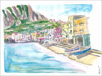 Premium poster Marina Grande Capri quiet morning with boats and waterfront