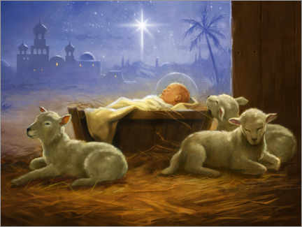 Premium poster Baby Jesus with sheeps