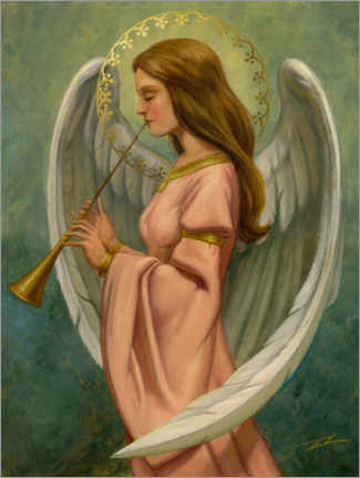 Premium poster Musician angel with green background