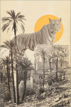 Premium poster Tiger between ruins and palm trees