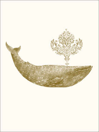 Premium poster  The Damask Whale - gold option - Terry Fan