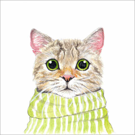 Gallery print  Cute cat with green eyes and scarf - EDrawings38
