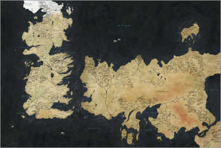 Gallery print  Game of Thrones - Westeros and Essos Map
