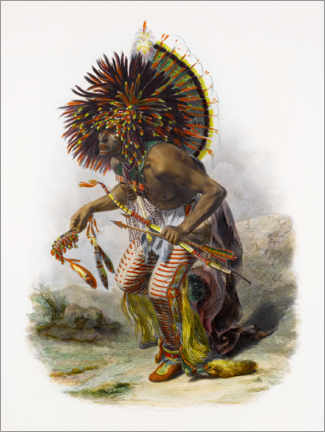 Gallery print  Indians with feather headdress - Karl Bodmer