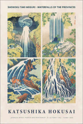 Acrylic print  Hokusai - Waterfalls - Museum Art Edition
