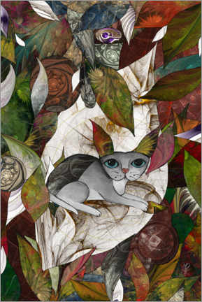 Wall sticker  Cat amongst Leaves - Maria Forrester