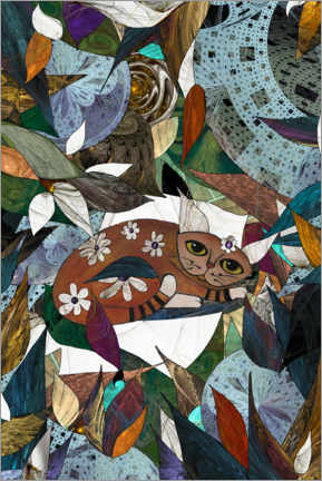 Gallery print  Cat with flowers and leaves - Maria Forrester