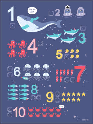 Foam board print  Counting numbers with marine animals - Heyduda