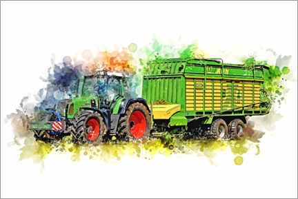 Premium poster  Tractor with harvest wagon - Peter Roder