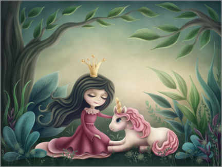Canvas print  Princess with unicorn in the magic forest - Elena Schweitzer