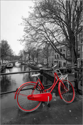 Premium poster Red bicycle on the canal, Amsterdam