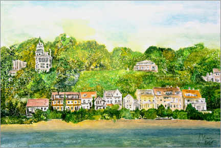 Wood print  Elbe beach with old pilot houses and captains houses, Hamburg - Gerhard Kraus