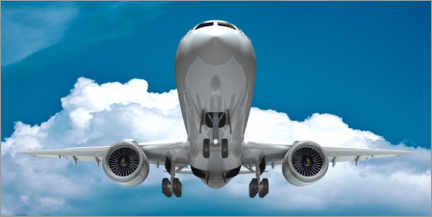 Canvas print  Passenger jet on approach for landing with landing gear down - Kalle60