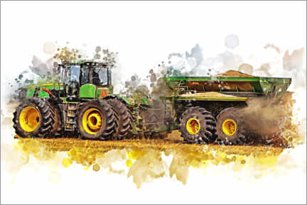 Premium poster  Tractor in the field - Peter Roder