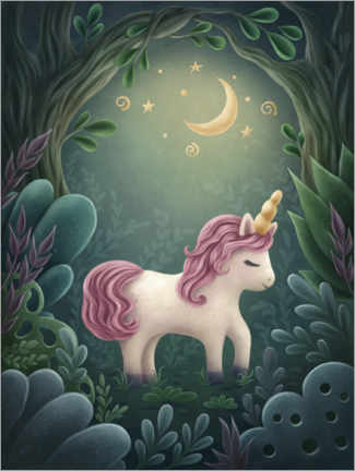 Wood print  Little Unicorn in Forest - Elena Schweitzer