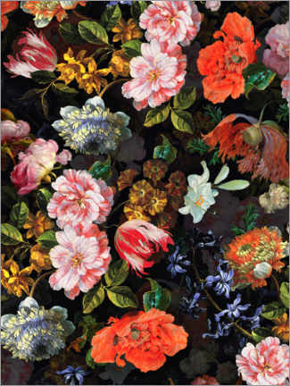 Canvas print  Lush antique midnight flowers - UtArt