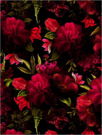 Foam board print  Dark red vintage roses - UtArt