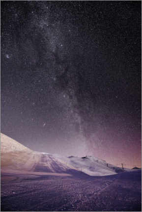 Gallery print  Illuminated ski slopes with night sky at Lauberhorn, Switzerland - Peter Wey